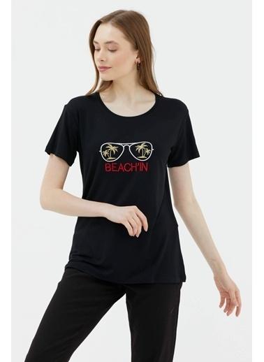 Sementa Nakışlı Dökümlü Tshirt - Siyah Siyah